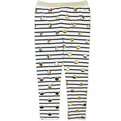 Girls Navy Stripe/Gold Legging