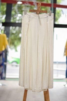 Linen Viscose Button Detail Culottes