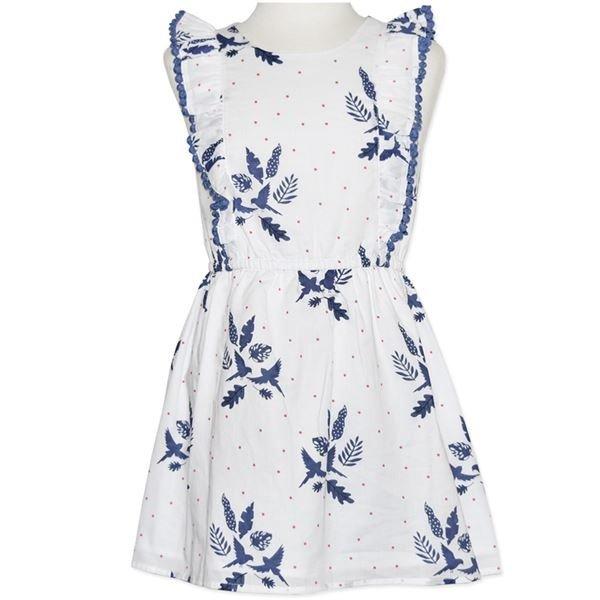 Girls White Printed Dress