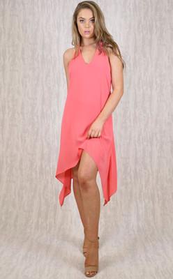 V-Neckline Dress With Ribbon Back