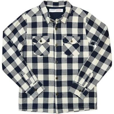 Boys Navy Check Long Sleeve Shirt