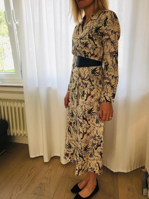 Robe chemisier longue lin imprimé jungle La Fée Maraboutée