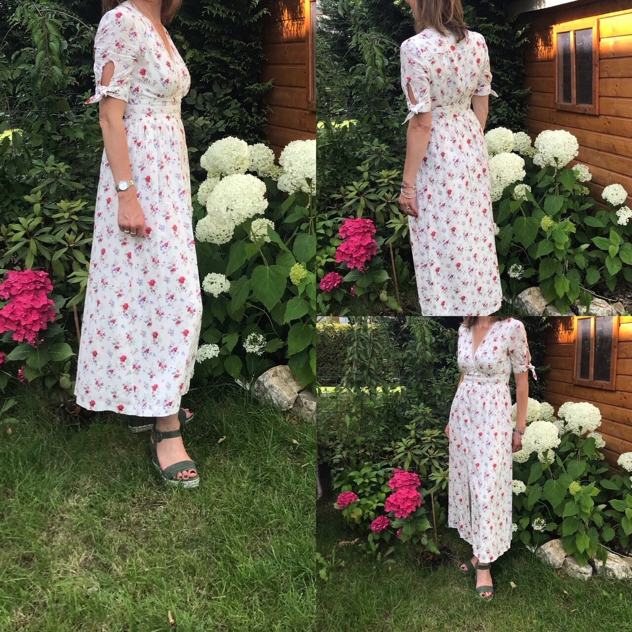 Robe longue fleurie manches courtes Frnch