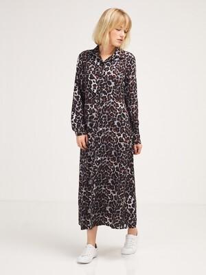 Robe longue chemise imprimé leopard La Fée Maraboutée