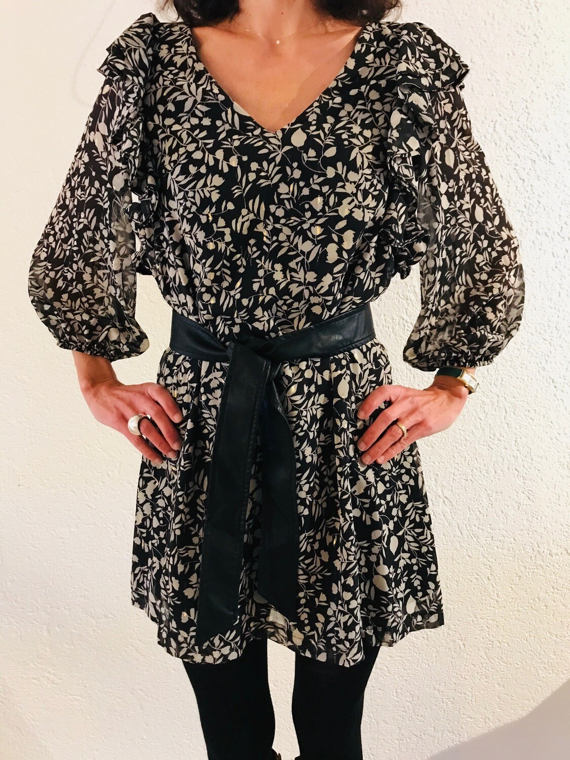 Robe courte fluide feuillage Imperial