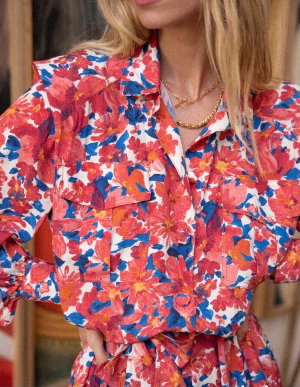 Robe chemise courte fleurie Opullence