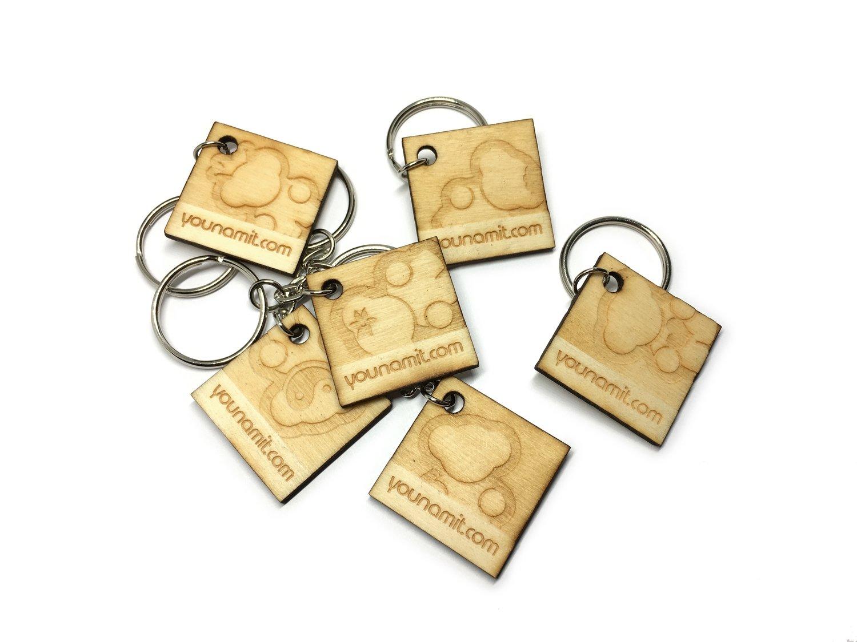 Wood Square Keychain