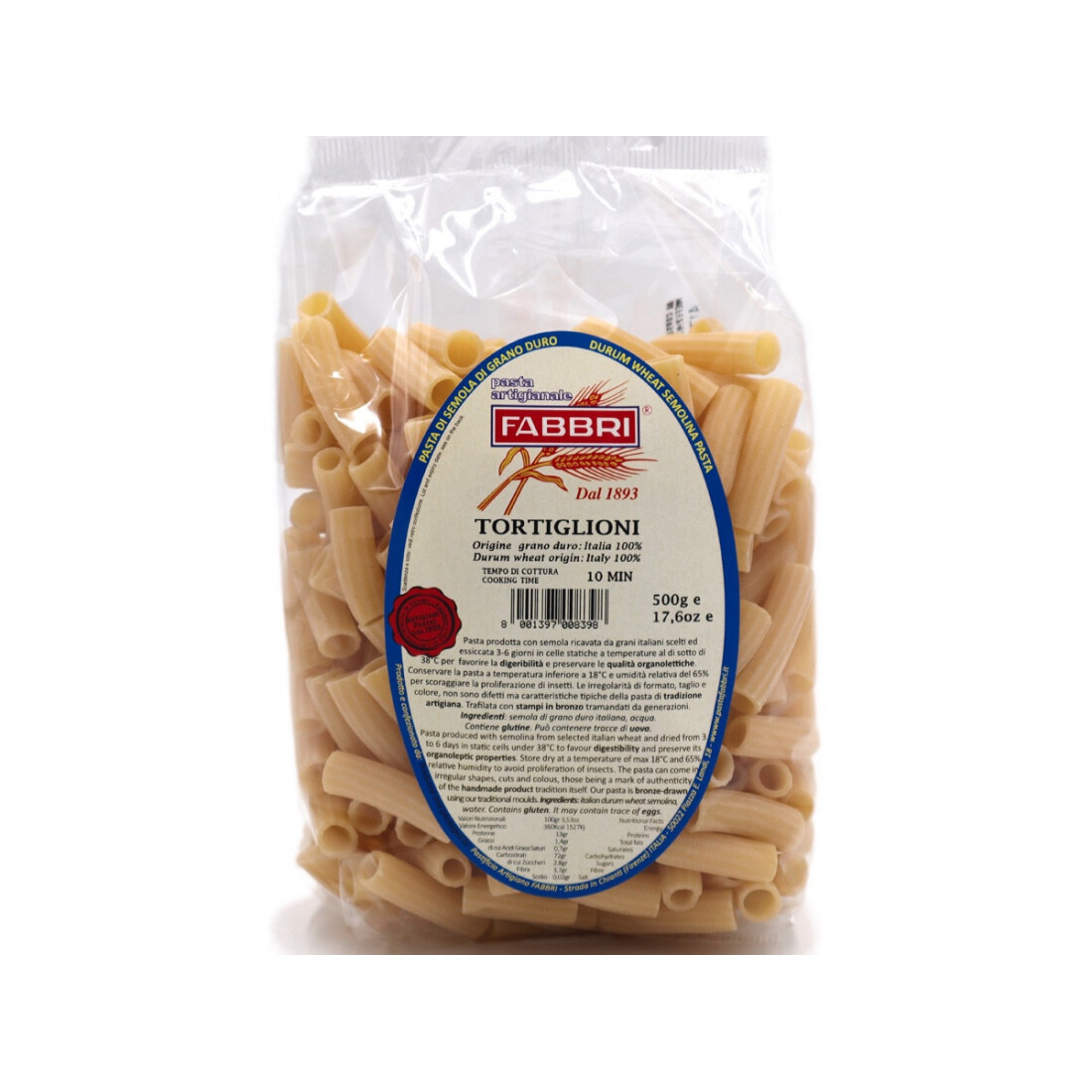 Tortiglioni di grano Senatore Cappelli bio 500 gr - Pastificio Fabbri
