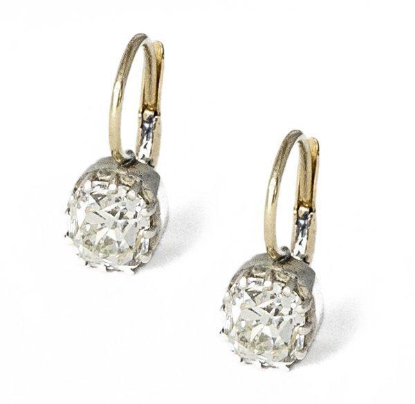 Antique 2 26ct Old Mine Cut Diamond Earrings