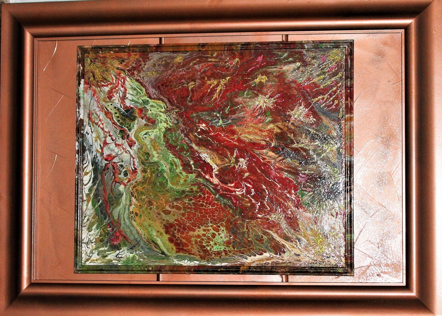"31 X 43 ORIGINAL ABSTRACT PAINTING: ""LAVA"""