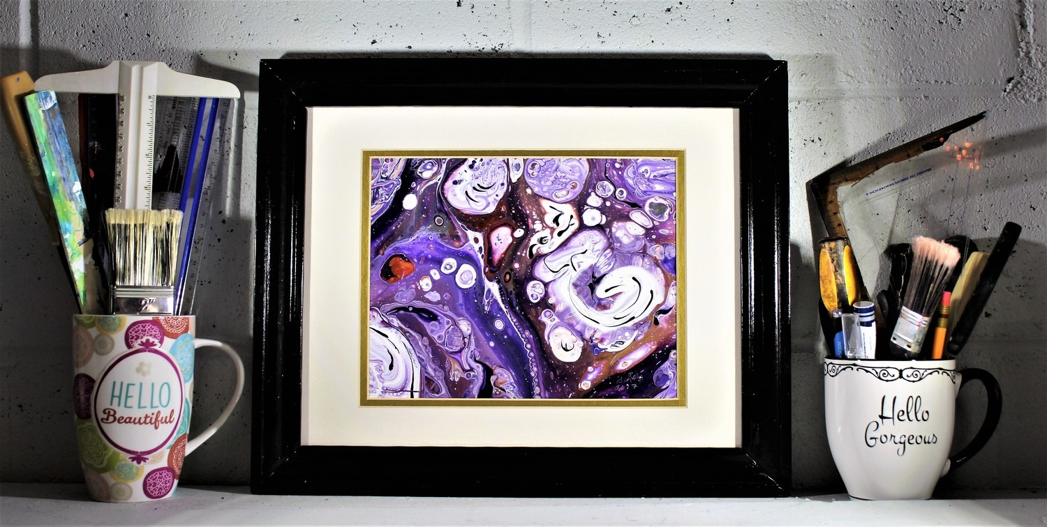 "14 X 17 ORIGINAL ABSTRACT PAINTING: ""PURPLE GALAXY"""