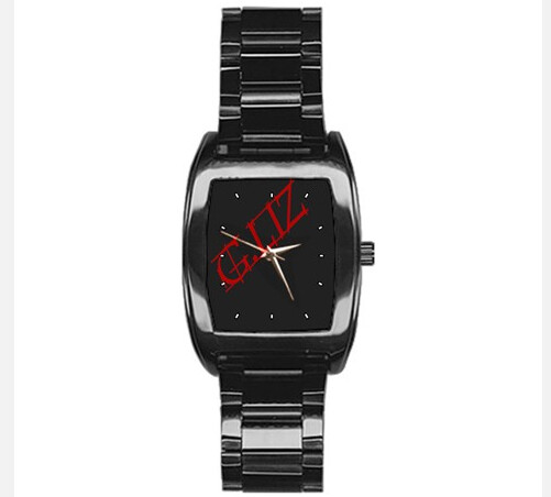 Black Stainless Steel Sporty Barrel Watch