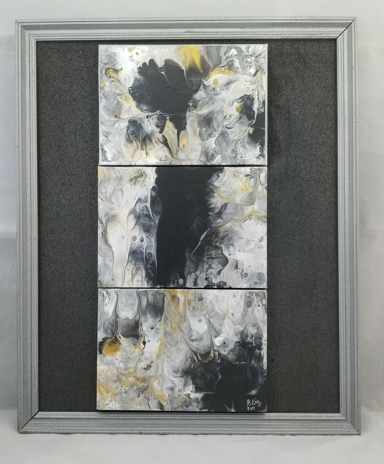 14X17 FRAMED ABSTRACT ON RECYCLED  GLASS