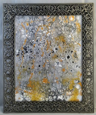 11X13 FRAMED ABSTRACT ON RECYCLED  GLASS
