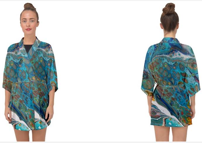 Chiffon Belted Kimono Cover Up