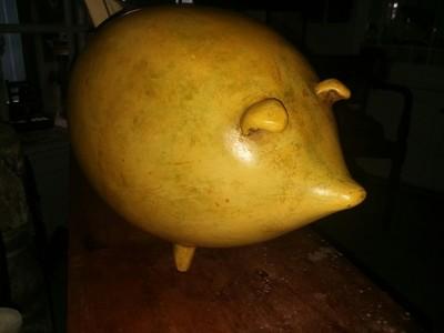 Pottery Pig Yellow Glaze