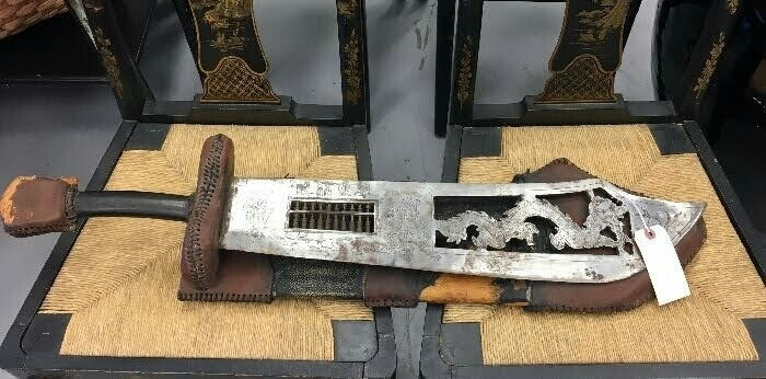 Chinese Wide Blade with abacus in blade, cutout at section of dragon chasing a flaming ball,