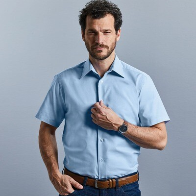 J923M Russell Collection Short sleeve easycare tailored Oxford shirt