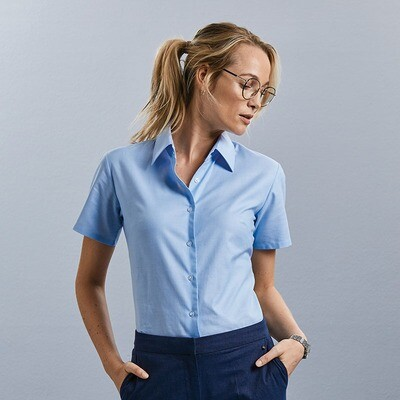 J933F Russell Collection Women's short sleeve Oxford shirt