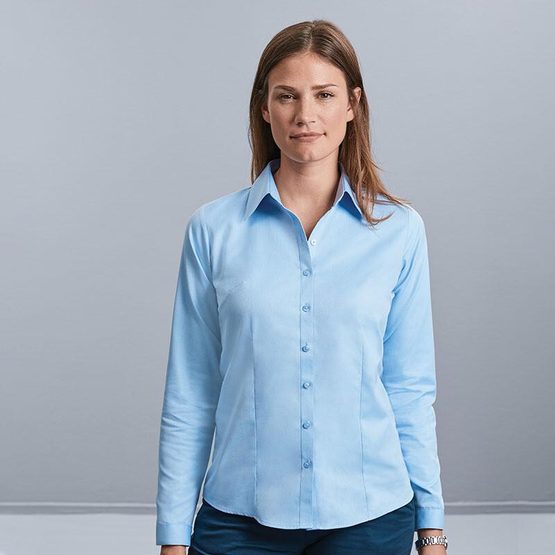 J962F Russell Collection Women's long sleeve herringbone shirt