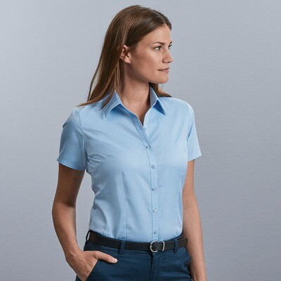 J963F Russell Collection Women's short sleeve herringbone shirt