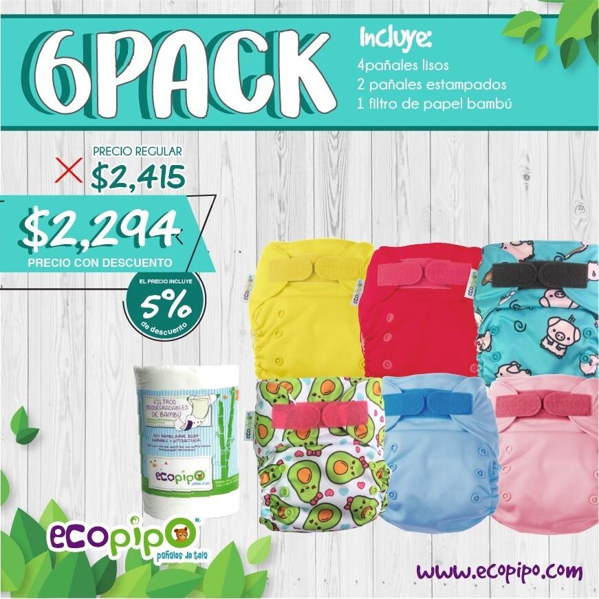 Paquete de 6 pañales de Ecopipo