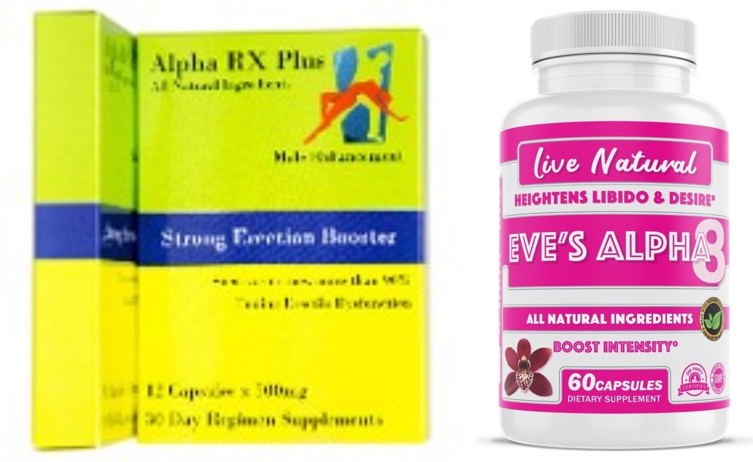 """Alpha RX Plus/Eve's Alpha8 """"lovers night combo"""" for him and her. Free shipping"""