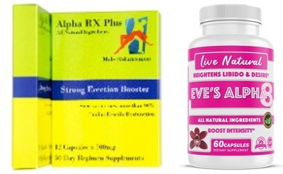 """Alpha RX Plus/Eve's Alpha8 """"lovers night combo"""" for him and her."""