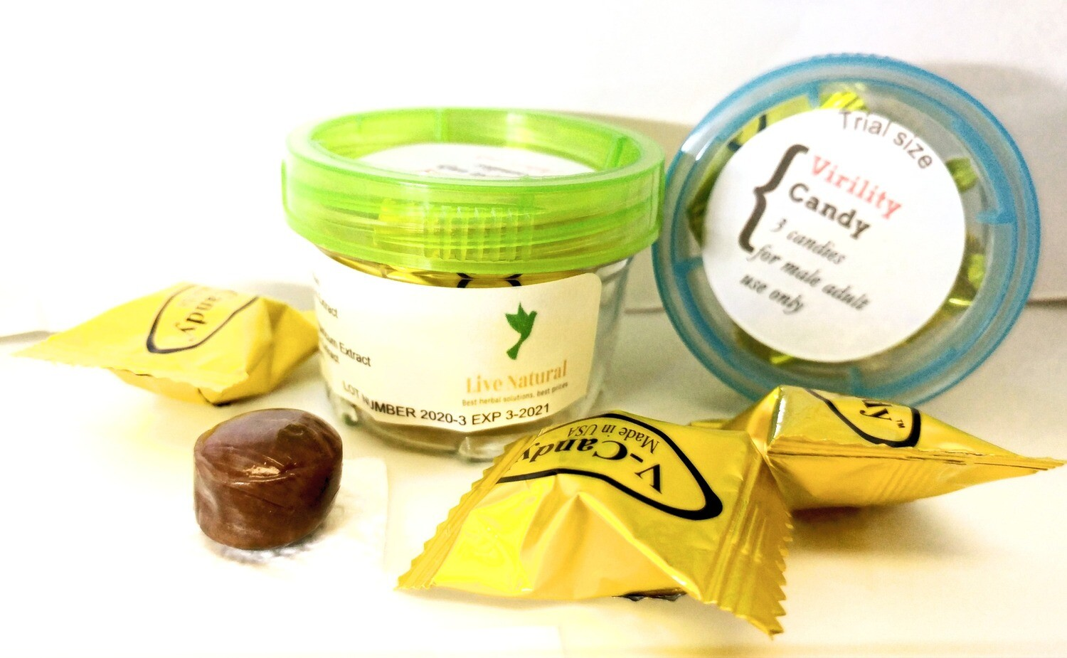 Virility Candy trial size for ED-comes with 3 Candies