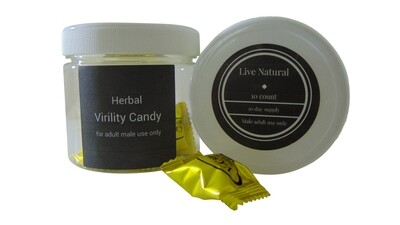 Virility Candy 30 day supply 10 candies for ED.  Discounts on purchase of multiple bottles.