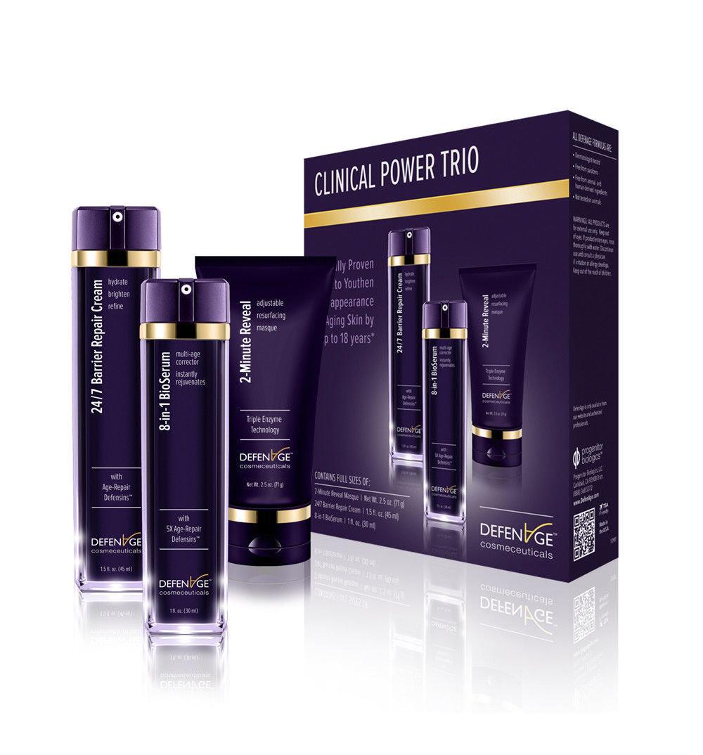 DEFENAGE Clinical Power Trio - 2-Minute Reveal Masque, 24/7 Barrier Repair Cream, 8-in-1 BioSerum