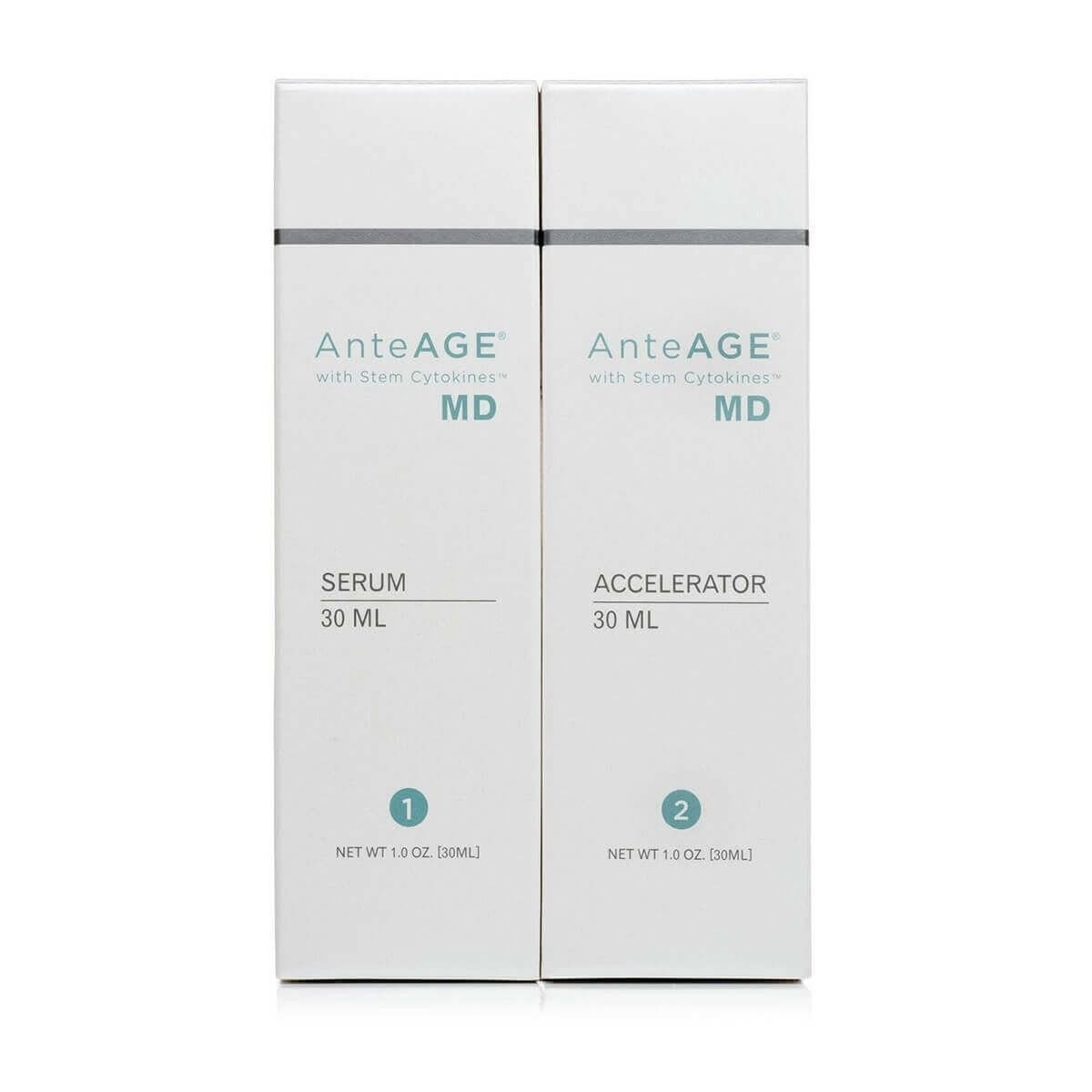 AnteAGE MD. Serum and Accelerator Set Stem Cell Growth Factors Cytokines Skin