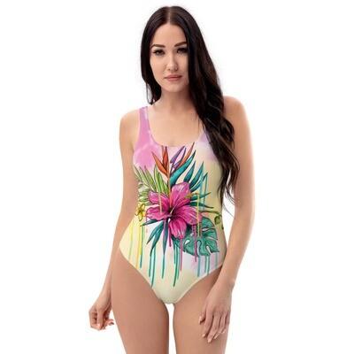 Pink Flower Tie Dye One-Piece Swimsuit