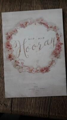 kaart 'hip, hip, hooray'