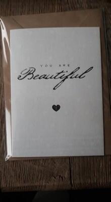 dubbele kaart ' You are beautiful'
