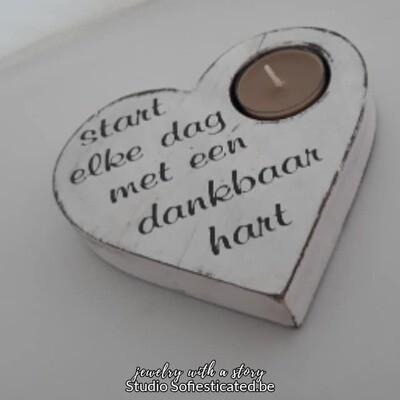 kaarsenhouder hart met spreuk