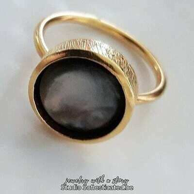ring gold & abelone