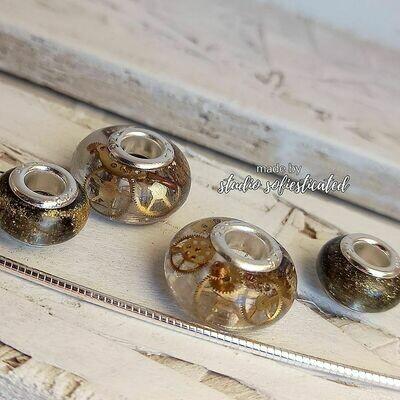 beads voor pandora armband/ketting:  resin & steampunk silver 925