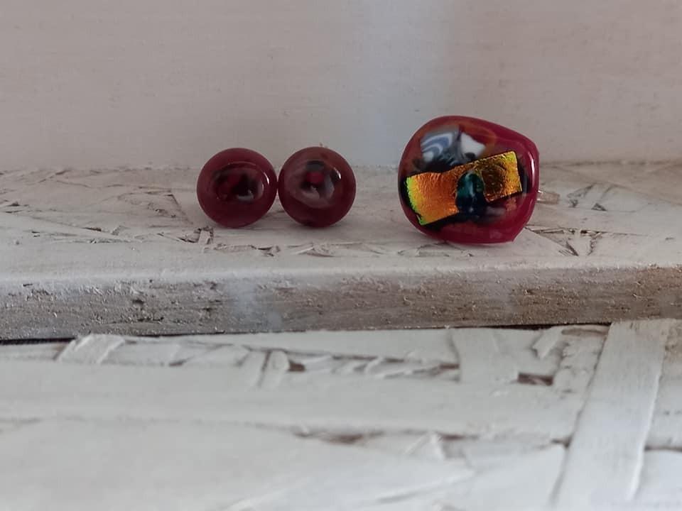 oorringen sterkers gesmolten glas roodpaars 00324