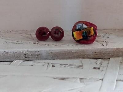 oorringen sterkers gesmolten glas roodpaars