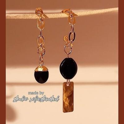 earrings gold & black onyx