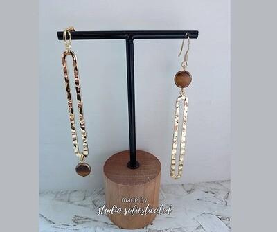 earrings tigereye & gold 12k