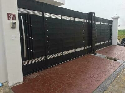 Steel Gate with wood design