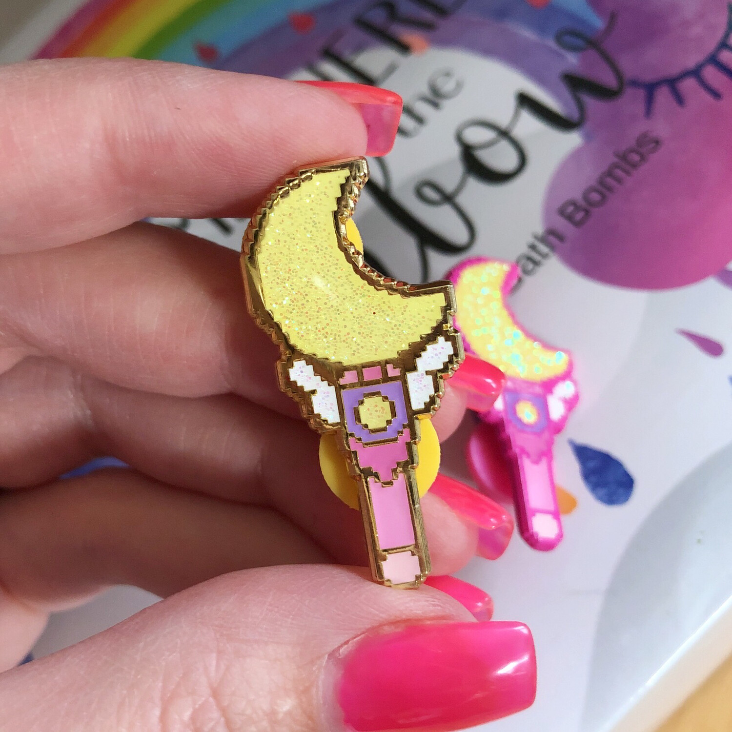 Kawaii Moon Wand Enamel Pin