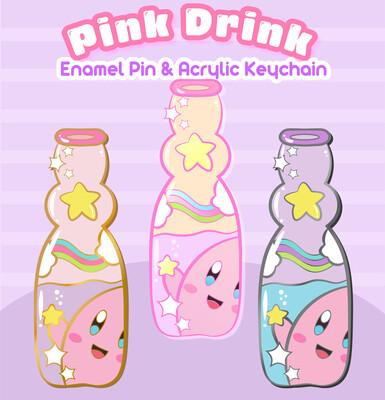 *PREORDER* Kirby's Pink Drink Enamel Pin & Keychain