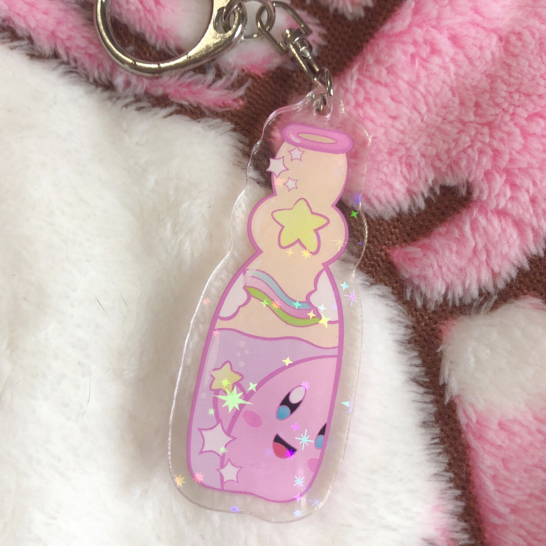 Kirby Pink Drink Holo Acrylic Keychain