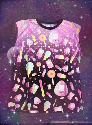 KityCrylics Kawaii Sweets Fairy Kei Shirt (Pink/Black)