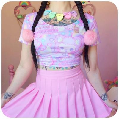 Cutie-Star Dreamer Short Sleeve Crop Top Fairy Kei