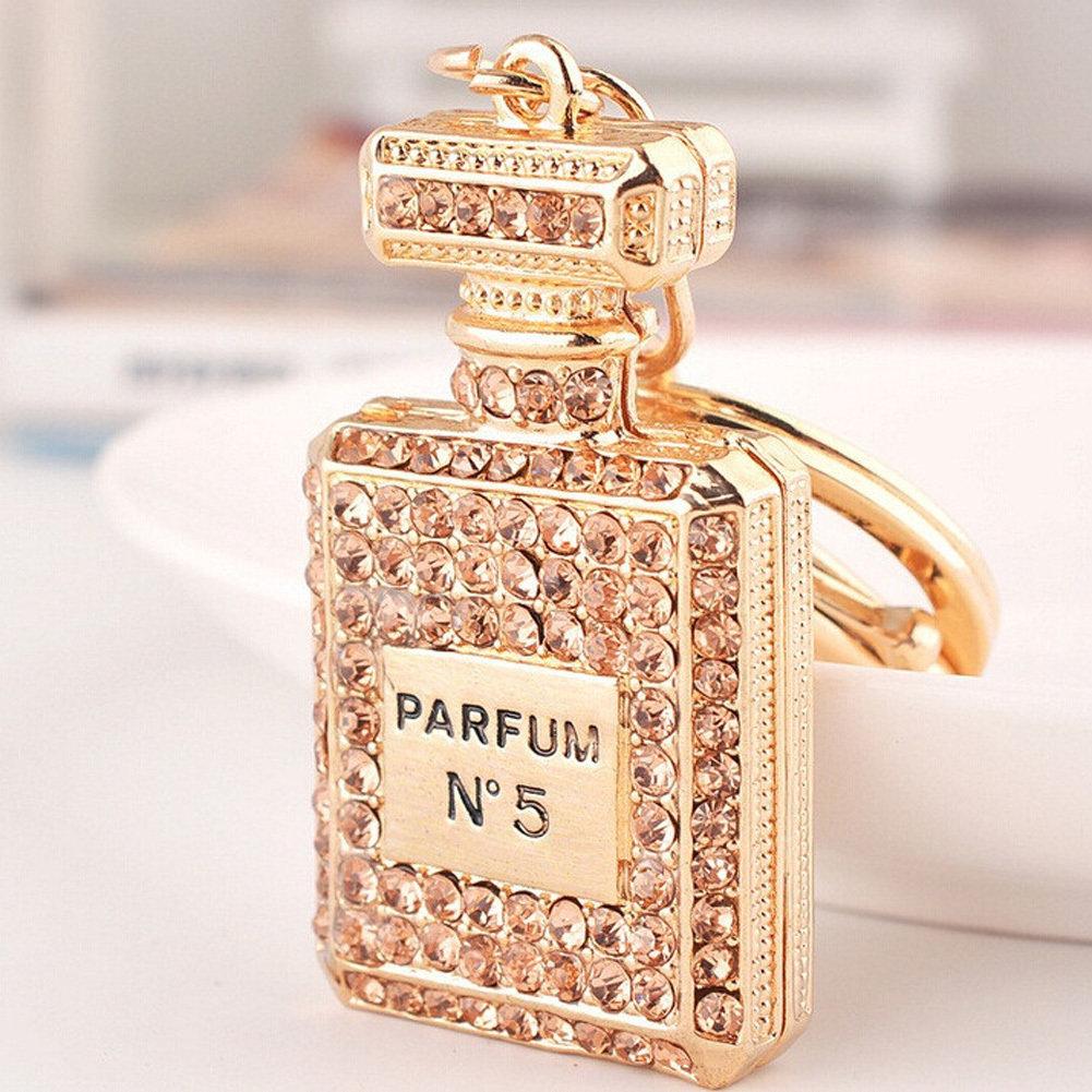 Gold Crystal perfume bottle keychain