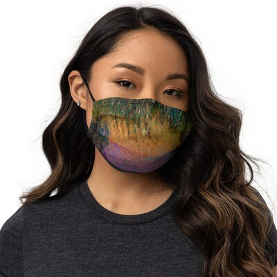 Monet Lilies Face Cover — Burnt Magenta